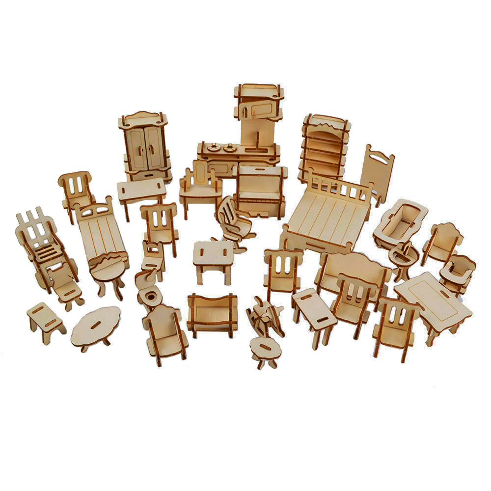 34 pcs Laser Cut - <font><b>Dollhouse</b></font> Furnitures - Wooden 3D <font><b>Puzzle</b></font> Miniature Models Doll House Accessories Handcraft Toys