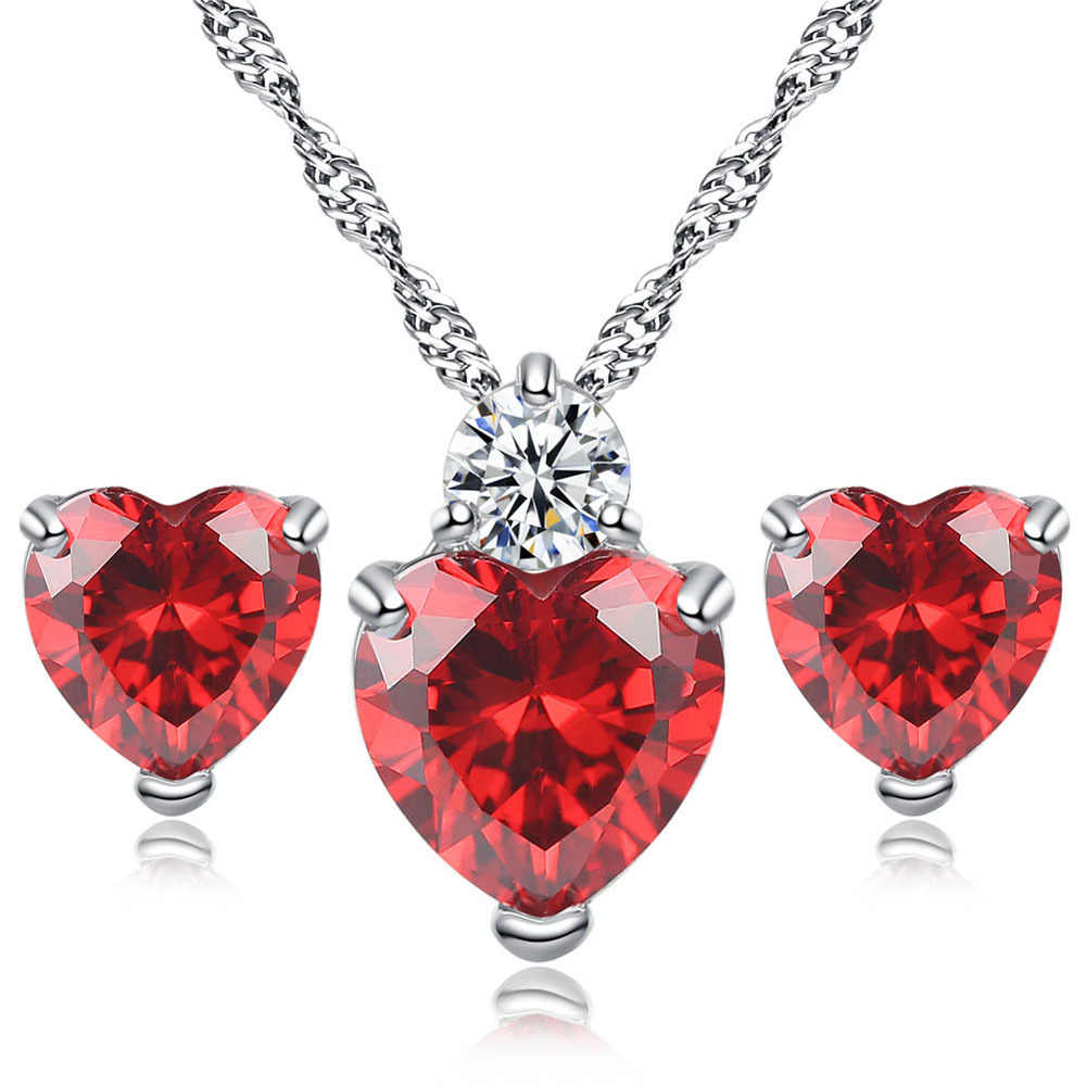 Crystal Zircon Earring Necklace Europe And America Pomegranate Red Necklace Earrings Two-piece Set Red Heart Wedding Jewelry Gif