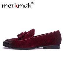 fbc18dfb4 Merkmak اليدوية الرجال المتسكعون الايطالية نمط أحذية جلدية بدون كعب حذاء  جديد مصمم الرجال الشقق الانزلاق على الرجال أوكسفورد رجل.