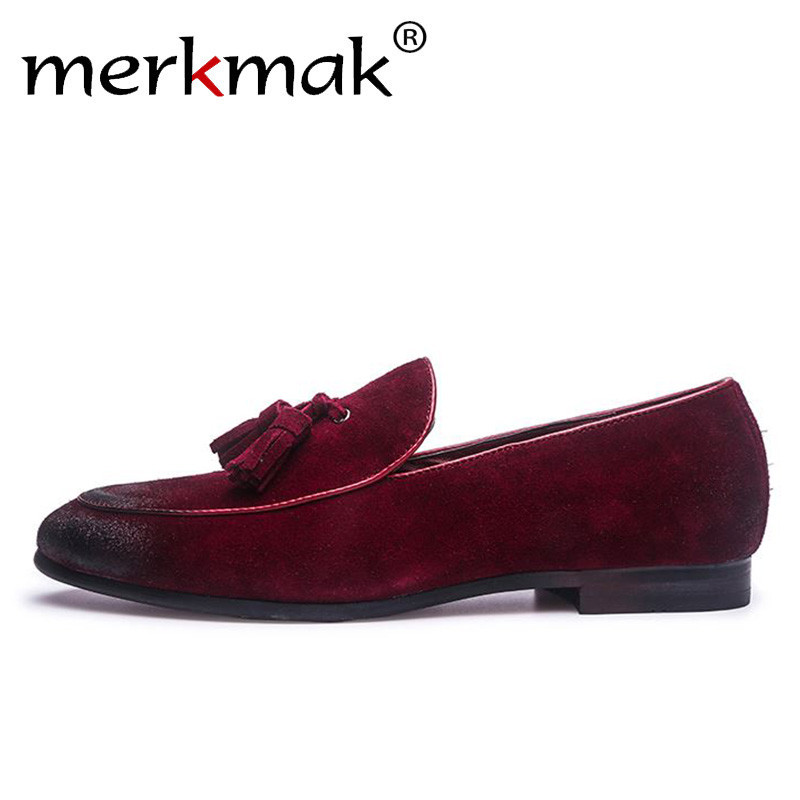 Merkmak Men's   Suede   Loafers Italian Style Tassel Casual   Leather   Men Shoes Designer Gradient Scrub Slip On Wedding Footwear Man's