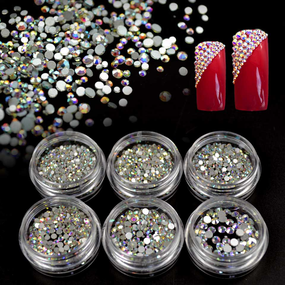 Crystal AB Glass Rhinestones On Nails Art Rhinestones For Nails Design Glass 3D Strass Nail Art Decoration Gems Manicure MJZ1024