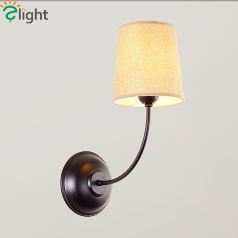 Фотография Modern Simple Iron E27 Foyer Led Wall Lamp American Retro Fabric Shades Bedroom Wall Light Black Balcony Led Wall Lighting