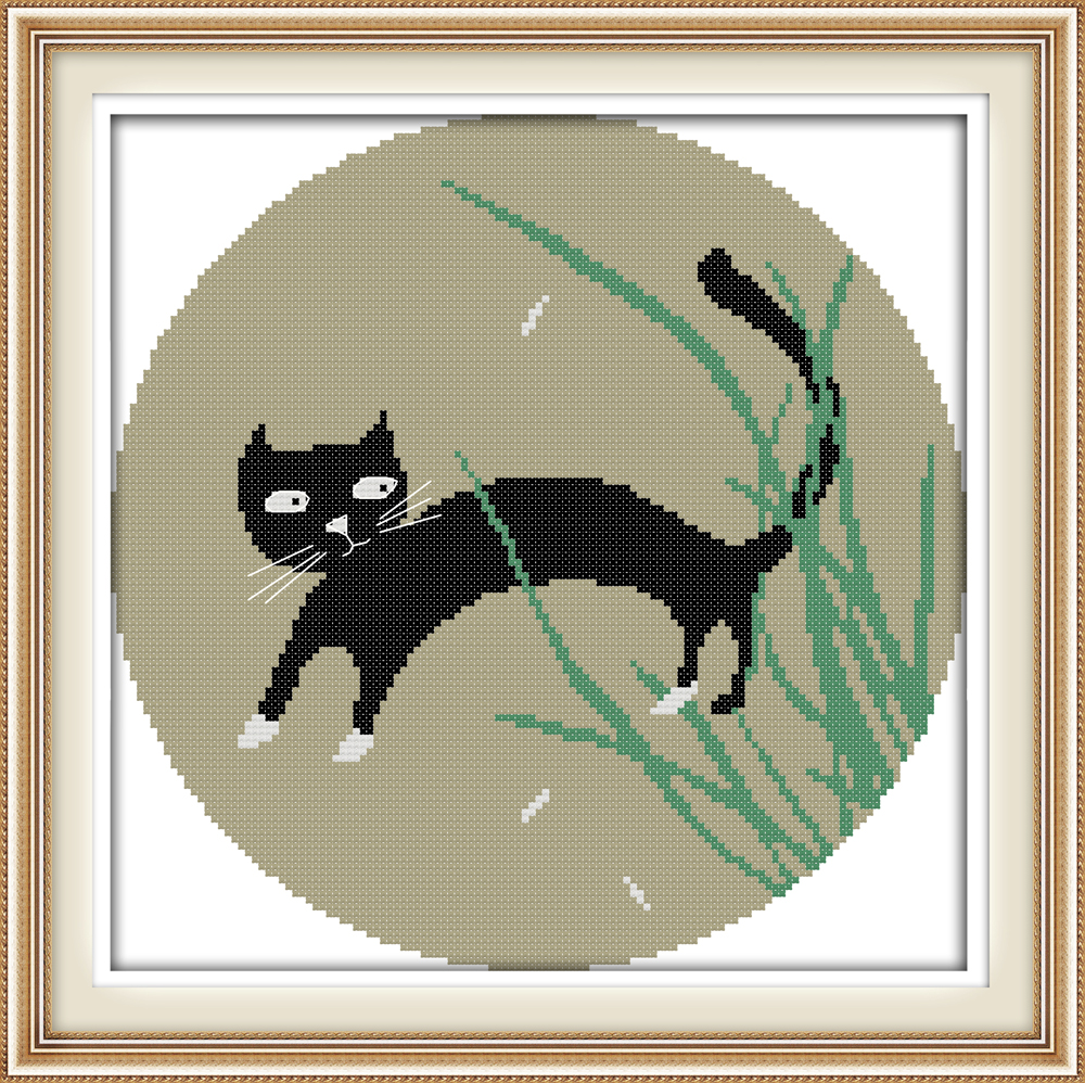 The little black cat cross stitch kit DIY embroidery set handmade ...