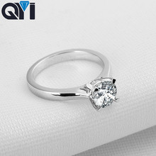 QYI 925 Sterling Silver Rings 1 ct Round Cut Women Engagement Jewelry Zircon  Female Wedding Finger Flower Gift
