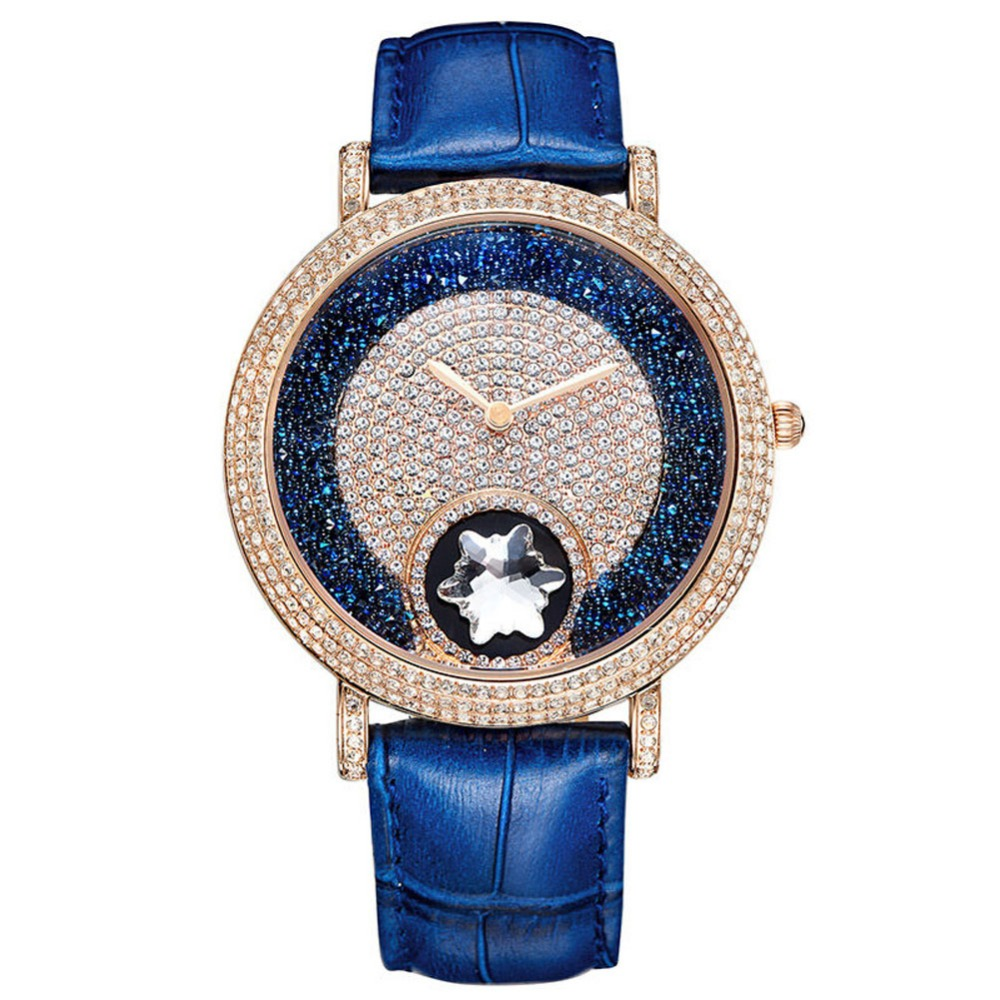 MATISSE Lady Vogue Full Crystal Leather Strap Fashion Quartz Watch Wristwatch Blue