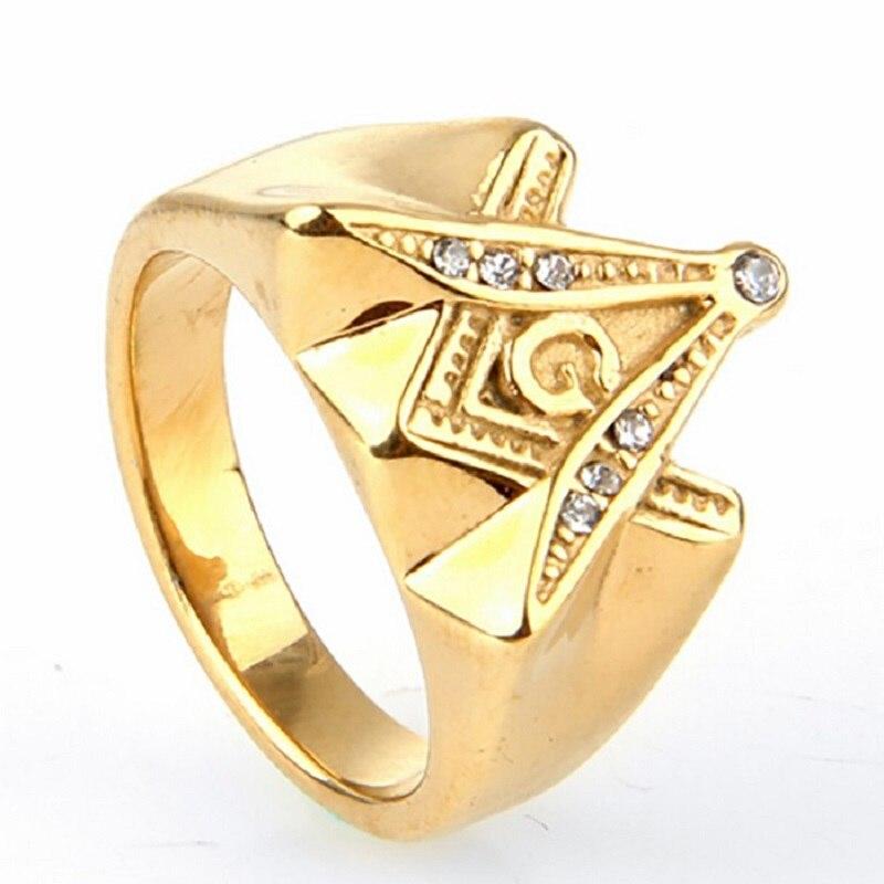 White Zircon Men S Gold Free Mason Freemason Masonic Ring