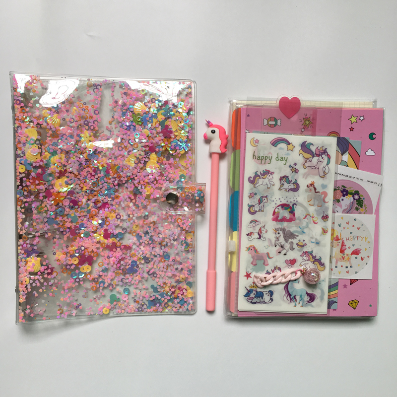 Lovely Sparkling Loose Leaf Notebook A5 A6 Pink Unicorn Diary Planner Set, PVC Soft Cover Scrapbooking Sticker Pens Accessory