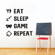Home Decor Gamer Quote Wall Sticker Kids Room Murals Games Lover Gift Eat Sleep Game Removable Vinyl Decal AY1211