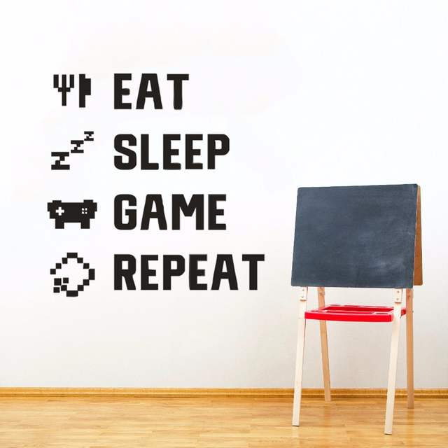 Online Shop Home Decor Gamer Quote Wall Sticker Kids Room Wall