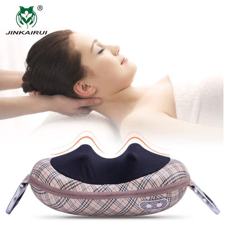 JinKaiRui Shiatsu Deep Kneading Massage Pillow Shawl Infrared Heat Massager Relaxation Relieve Neck Shoulder Back PainJinKaiRui Shiatsu Deep Kneading Massage Pillow Shawl Infrared Heat Massager Relaxation Relieve Neck Shoulder Back Pain