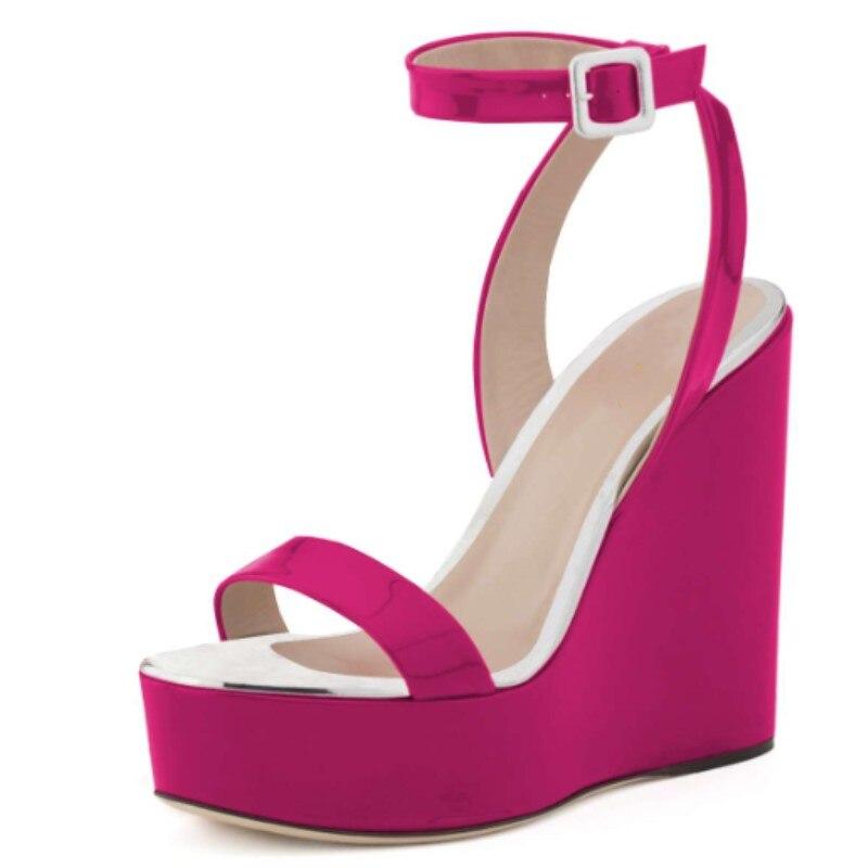 DIWEINI femmes sandales 2019 compensées robe de soirée de mariage sandales PU tissus 15 cm sandales à talons compensés grande taille