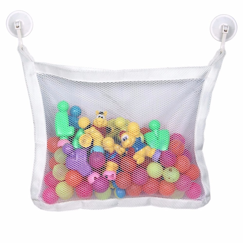 Kids Baby Bath Time Toy Tidy Storage Suction Cup Bag Mesh Bathroom ...