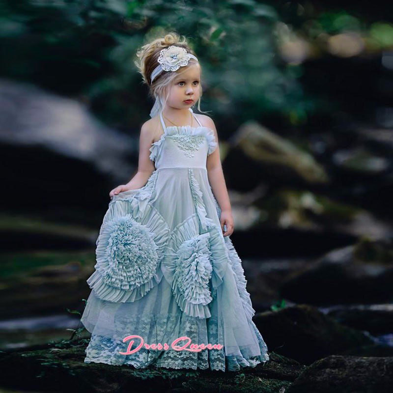 2017 Blue Flower Girl Dresses A-Line Sleeveless Lace Princess Kids Birthday Party Gowns Flowers Lace Girl Pageant Gowns Vestidos