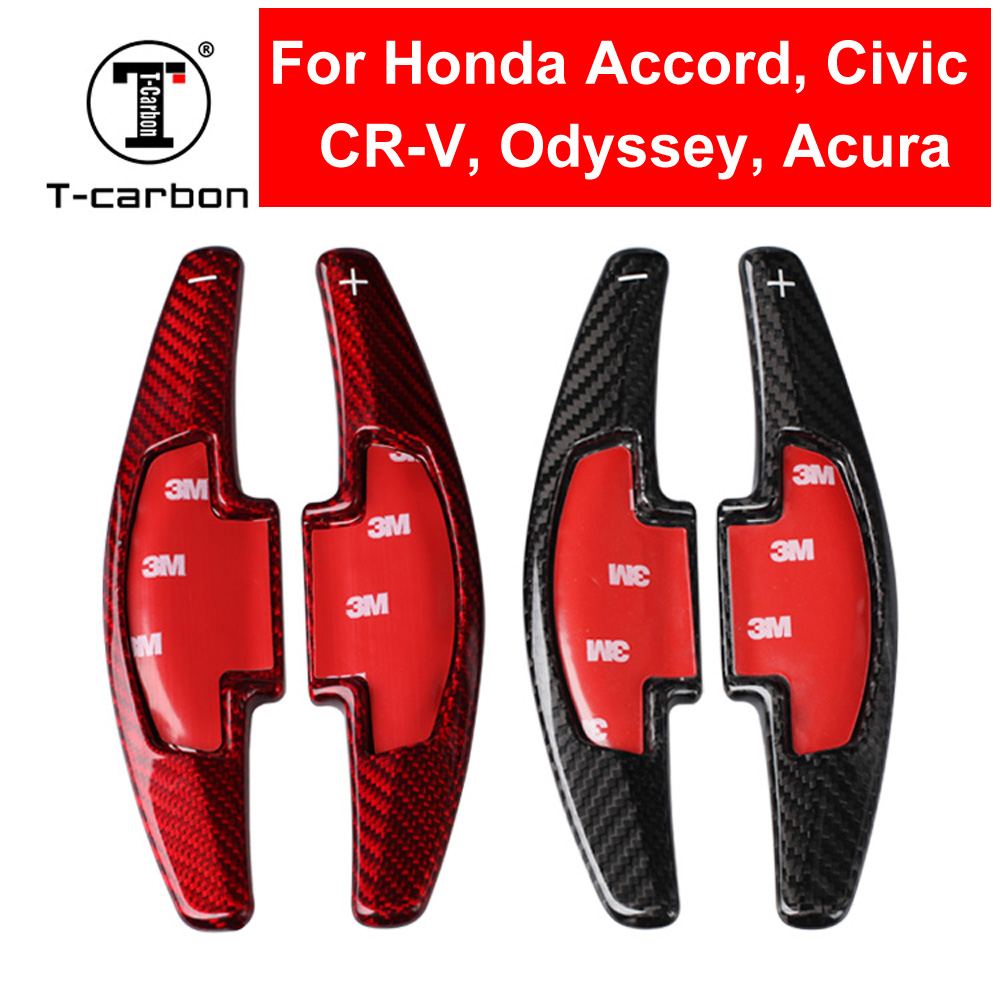 Car Styling Real Carbon Fiber Steering Wheel Shift Paddle Shifter Extension For Honda Accord CR-V Civic Odyssey Acura Accessory