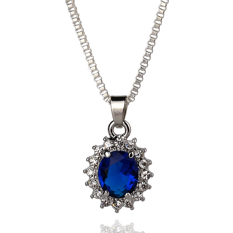 Clic Zircon Round Crystal Pendant Dark Blue Rhinestone Necklaces Silver Plated Statement Long Chain Necklace Womenjewelry In From