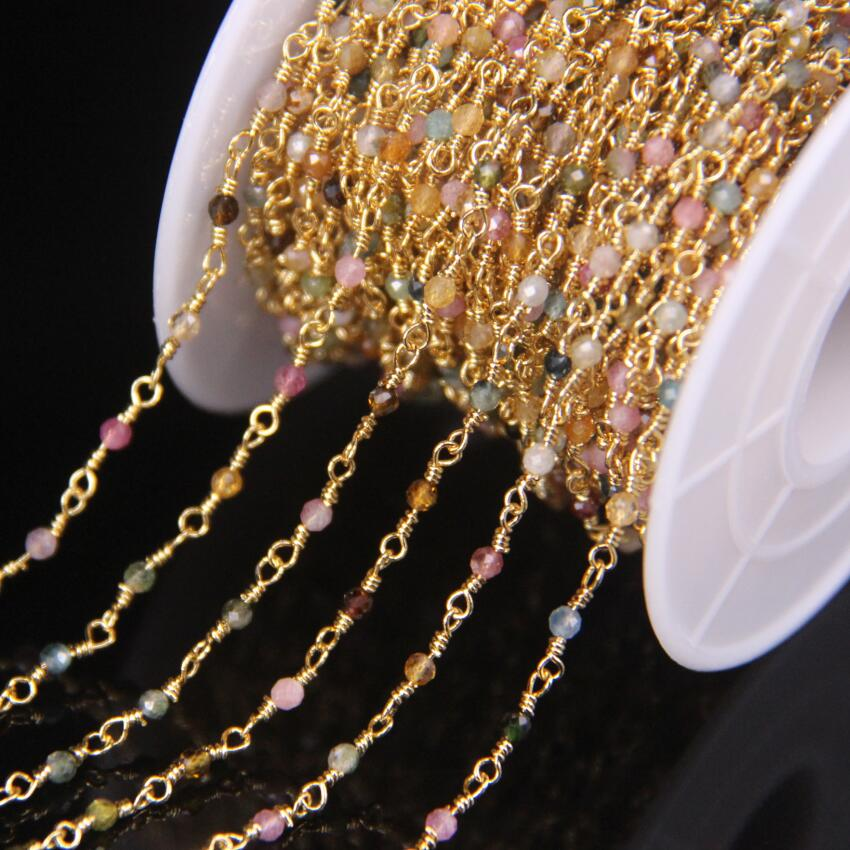 5Meter Natural Colorful Tourmaline 2mm Faceted Round Beads Rosary Chain,Gold Brass Wire Wrapped Necklace Bracelet Sweater Chains