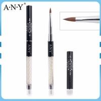 ANY Retail Popular Pearl Handle Black Glitter Cap Nail Acrylic Beauty Big Size Kolinsky Nail Brush10