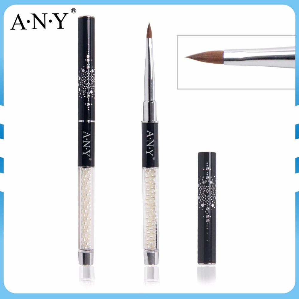 Any Retail Popular Pearl Handle Black Glitter Cap Nail Acrylic