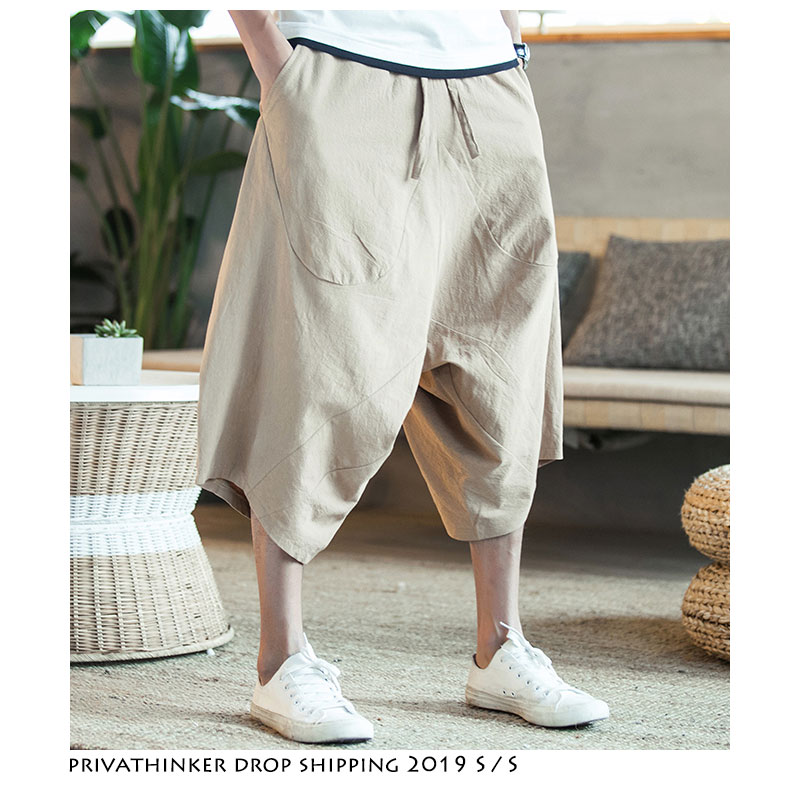 Linen Joggers Harem-Pants Harajuku Vintage Chinese-Style Cotton Summer Fashions Men