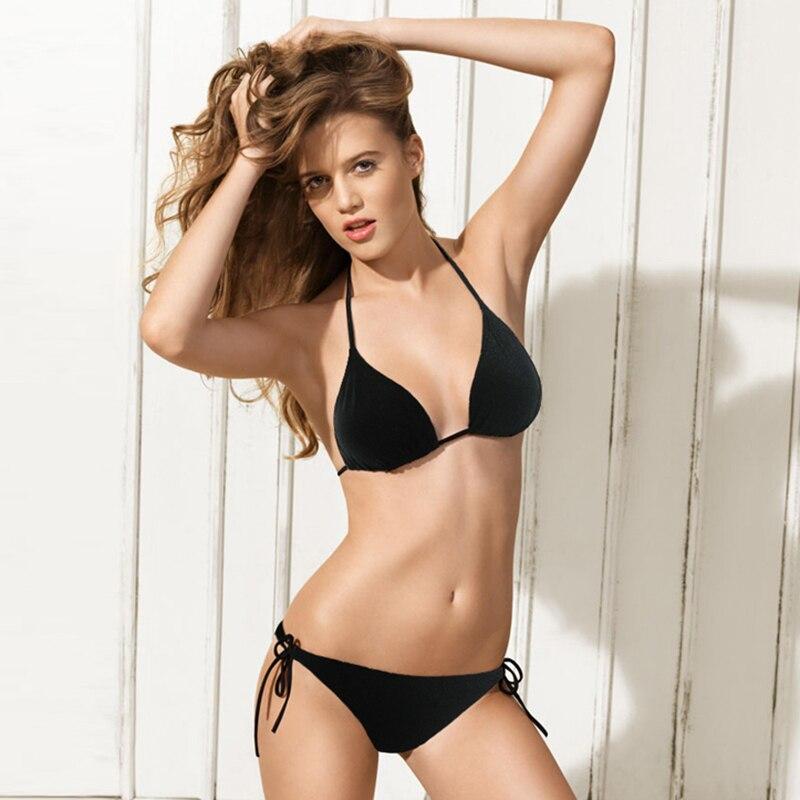 V Neck Sexy String Bikini Backless Halter Swimsuit Bandage Women Swimwear Summer Hot Bathing Suit Beach Wear Black