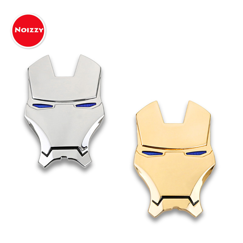 Noizzy Ironman Cartoon Marvel Car Auto Sticker Badge Emblem 100% 3D Metal Chrome Gold Automobile Motorcycle Tuning Car Styling auto car chrome ecoboost 2011 2013 f150 3 5l v6 dohc tivct door emblem badge sticker