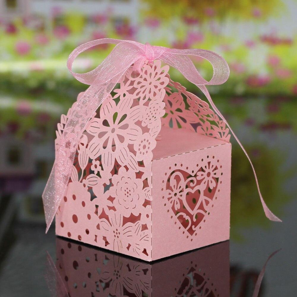 Online Shop 20pcs Romantic Laser Cut Wedding Candy Box Bride Groom ...