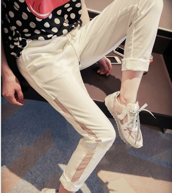 Free Shipping Plus Size Customized Cotton And Gauze Black Pants For Women Casual Ankle Length White Elastic Waist Harem Pants