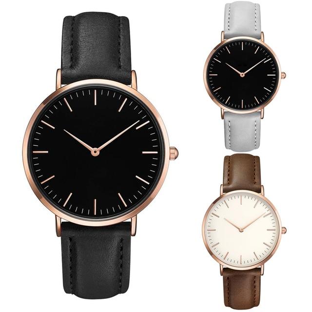 c56d8d3055b6 Top marca relojes hombres relojes mujer 2018 de lujo de negocios cuero del  cuarzo de las