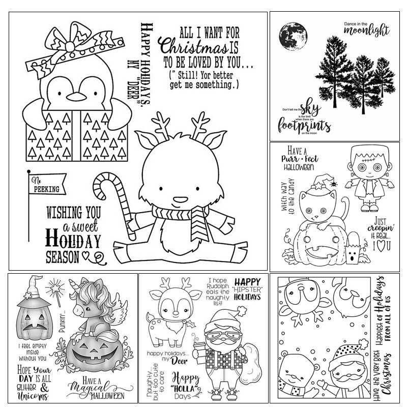 Halloween/Christmas  Clear Stamps For Scrapbook DIY Photo Cards Account Rubber Stamp Finished Transparent Chapter Size 11x16cm
