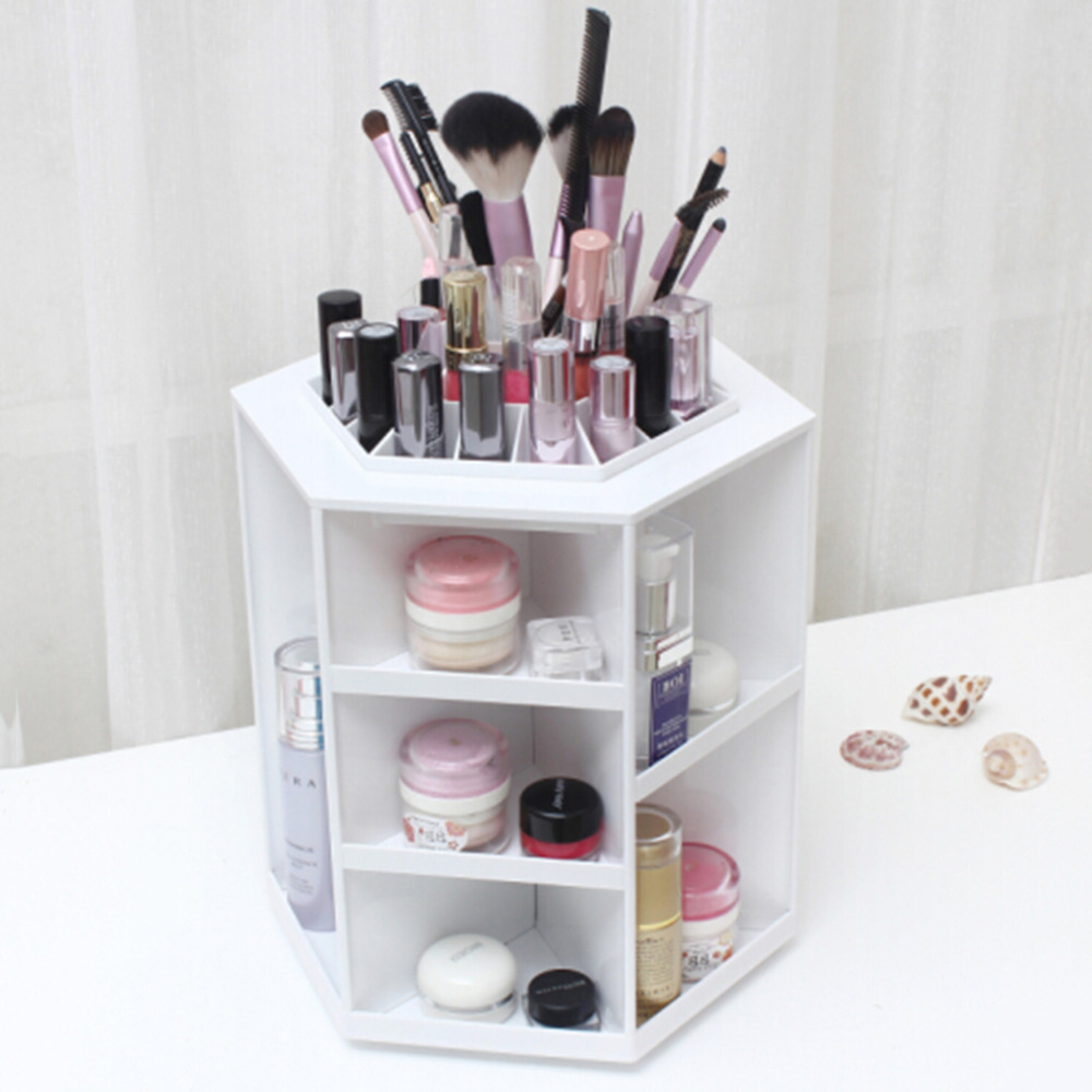 360 Degree Rotation Rotating Make up Organizer Cosmetic Display Brush Lipstick Storage Stand Pink White Hot Sale 360 degree rotation transparent makeup organizer case cosmetic brush storage holder box can freely change storey hight