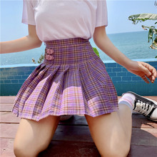 New Summer Harajuku Sweet Plaid Female Skirts Leather Buckle High Waist Dance Women Skirt Kawaii Purple Pleated Skirt Womens