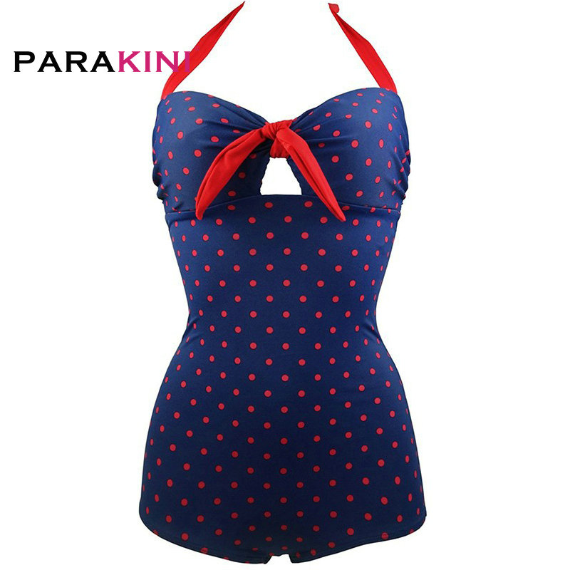 PARAKINI 2018 New Polka Dots One Piece Swimsuit Women Halter Padded Monokini Swimwear Beach Swimming Bathing Suit Plus Size XL 2017 sexy striped one piece monokini plus size women padded swimsuit bathing suit swimwear pink black red color dress beach wear