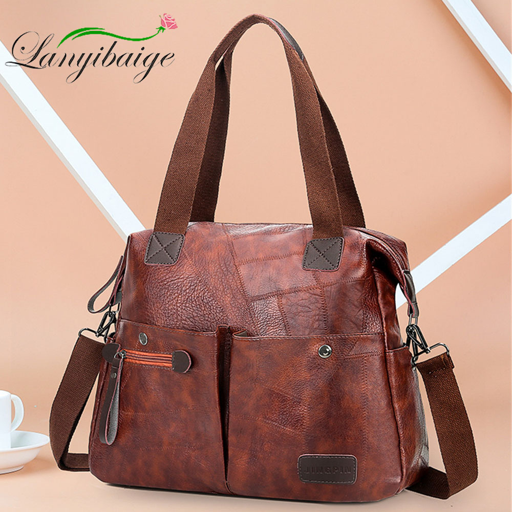 Multi-pocket Casual Large Capacity Women Tote Shoulder Bag PU Leather Ladies Handbag Messenger Bag Soft Shopping Crossbody Bag