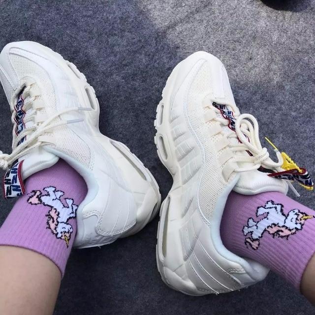 New Unicorn Women Socks Cartoon Animals Ins Popular Funny Socks Purple and Pink Art Happy Crew Socks