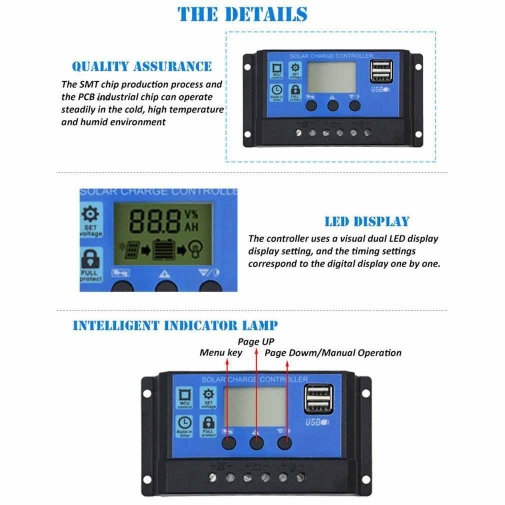 Солнечный контроллер зарядки панели РЕГУЛЯТОР коллектор 30A PWM 12 V-24 V Авто Dual USB цифровой Дисплей для свинцово-кислотных батарей ЖК-дисплей