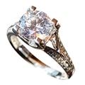 EDI 1CT Round Cut Test Positive Moissanites(D-F VVS ) Real 9k White Gold Ring For Women Lab Grown Diamond Fine Jewelry