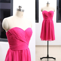 Fuchsia A Line Sweetheart Strapless Knee Length Chiffon Wedding Party Bridesmaid Dress M 264286
