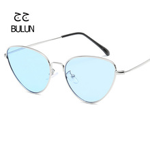 BULUN New Fashion Cat Eye Sunglasses Women Men Retro Mirror Ocean Glasses Metal Frame Multicolor Lens Gafas de sol UV400