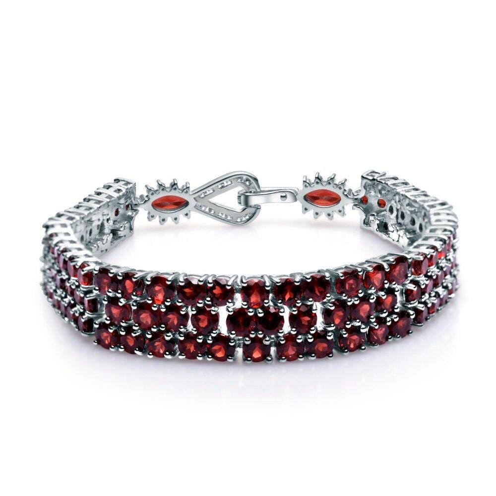 GEM'S BALLET 925 Sterling Silver Bracelets & Bangles For Women Fine Jewelry 30.80Ct Natural Red Garnet Gemstone Bracelet Genuine