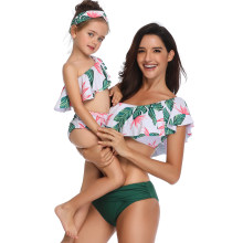 flouce mother daughter swimwear family matching outfits look mommy and me clothes mom daughter bathing bikini swimsuits dresses(Hong Kong,China)