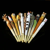 Handmade Carved Solid Wood Animal Refill Pen
