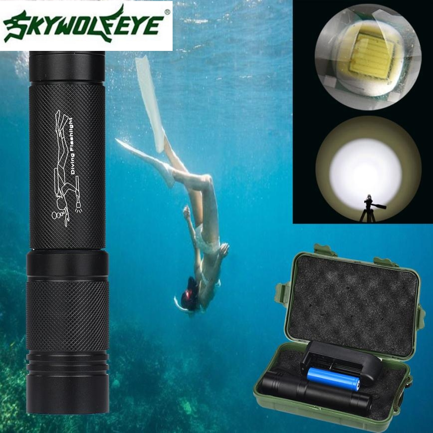 DC 22 Shining Hot Selling Drop Shipping 100m Waterproof XMLT6 LED Diving Scuba Flashlight Torch 18650+Charger