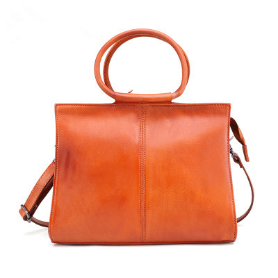 Novelty Lady Elegant Genuine Leather Tote Handbag For Women Vintage Real Leather Brown One Shoulder Messenger Bag