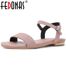 FEDONAS 2019 Summer New Concise Sweet Women Sandals Solid Cow Suede Buckle Low Heels Elegant Party Prom Office Basic Shoes Woman(China)