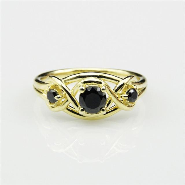 LASAMERO Game of Thrones BARATHEON 3 Stone Simulated Black Diamond 925 Sterling Silver Engagement Ring