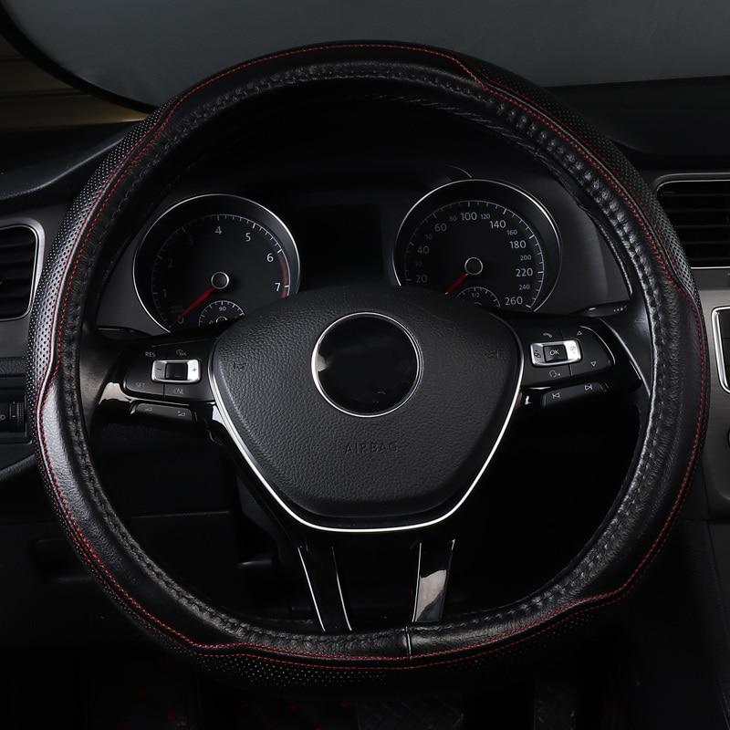 Couverture de volant de voiture antidérapant en cuir véritable accessoires pour vw volkswagen golf 1 2 3 4 5 6 7 mk1 mk2 mk3 mk4 mk5 mk6 mk7