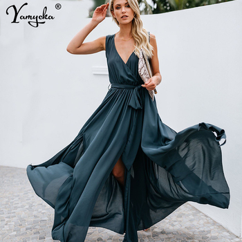 Sexy women Strap Maxi Dress V Neck Backless Chiffon Bandage beach Party Dress elegant Summer boho long dress vestidos 2020 new elegant long chiffon dress women a line deep v neck sleeveless sparkle maxi dress ladies formal party dress vestidos de festa