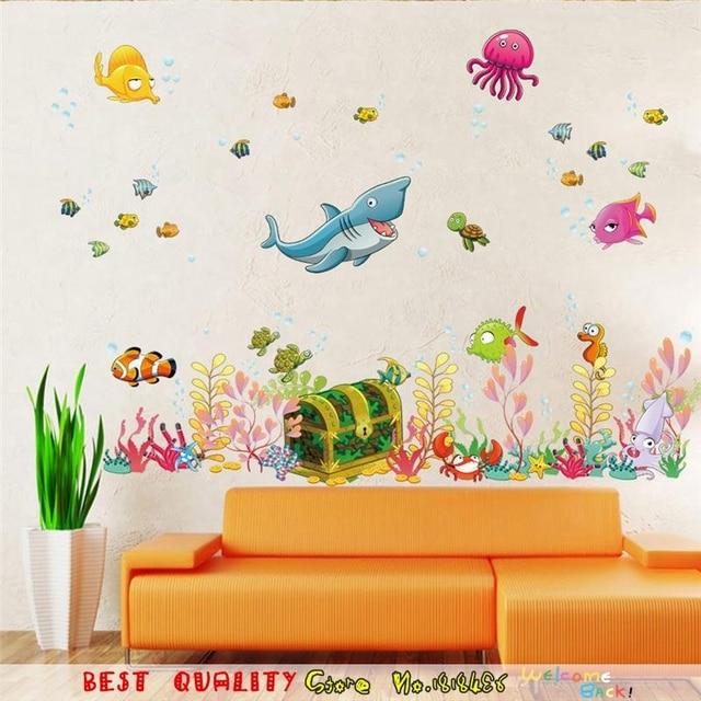 Deep Sea Animal Waterproof Wall Stickers Bathroom Glass Wall Decals Fish  Wall Decals Kids Room Decorations