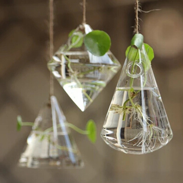vase de decoration Glass vase home decoration vases flower pots planters vaso geometric flower  vase crystal vaso de flor hanging clear vase