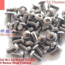 Титановый винт M3x6 ISO 7380 с шестигранной головкой 2,0 Отвертка Ti GR2 полированная 25 шт